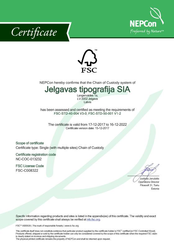 Jelgavas tipografija SIA FSC COC Certificate